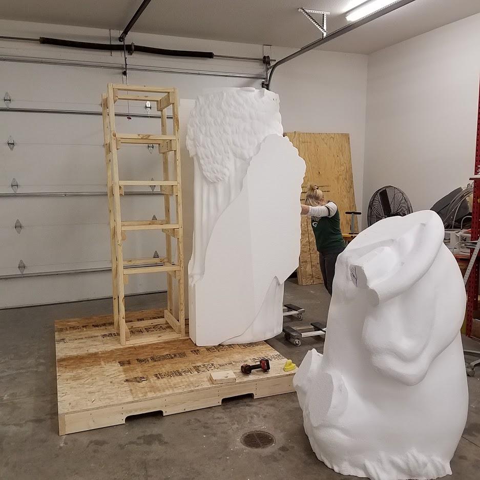 Bavarian Maiden Foam Sculpture -  Assembling the bottom half