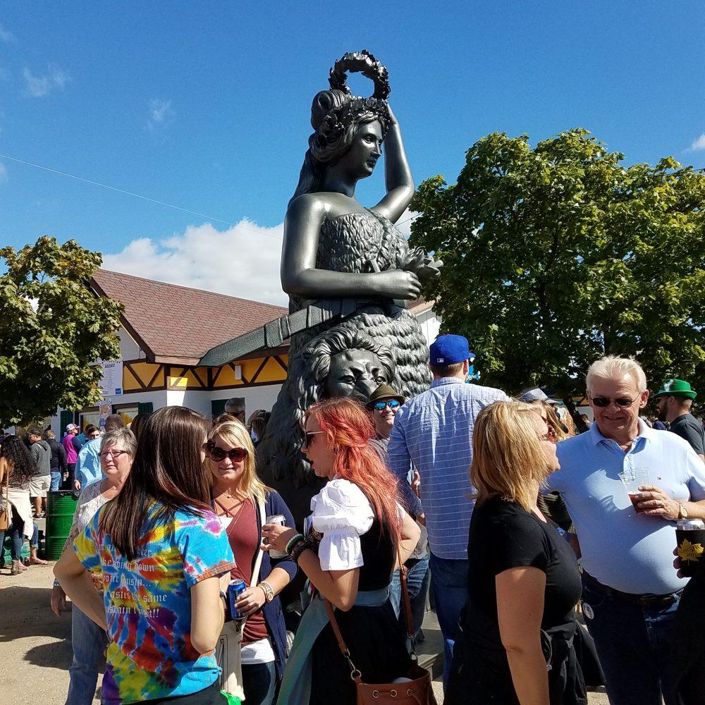 Oktoberfest USA - Sculpted Foam Lady Bavaria overlooks the fest