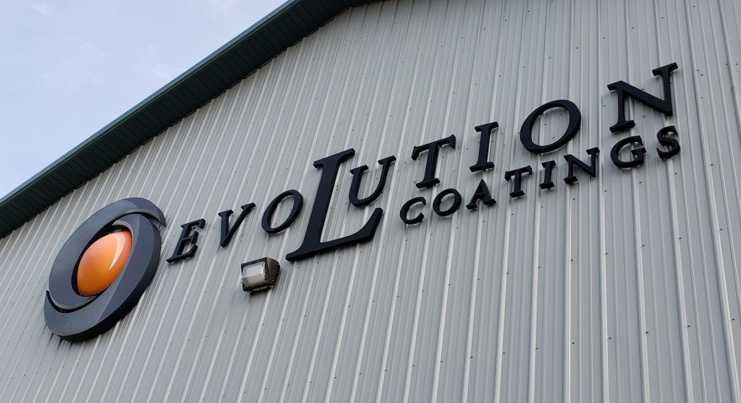 Evolution Coatings Building Sign
