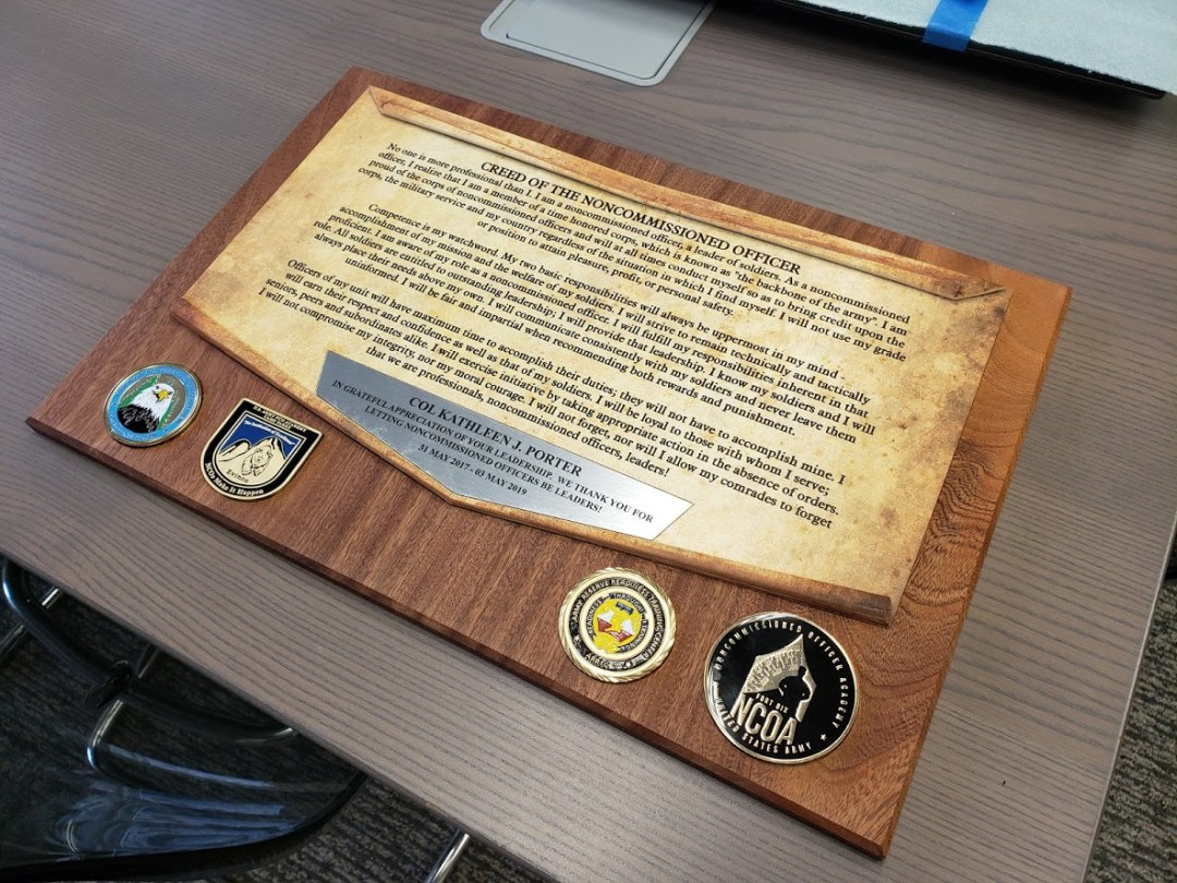 NCO Retirement Plaque -Ft McCoy