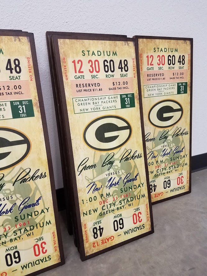 Green Bay Tickets on Wood