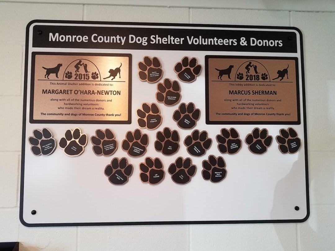 Monroe County Dog Shelter Donor Plaque