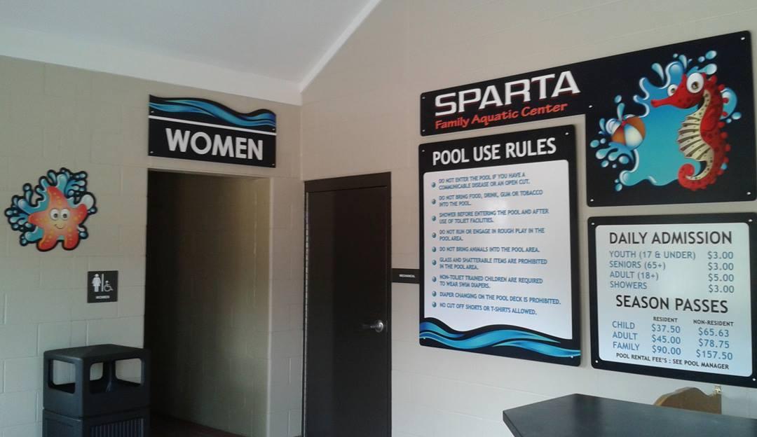 Sparta Aquatic Center Interior Signs
