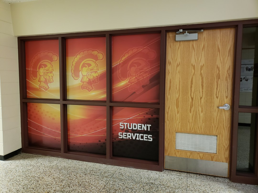 Student Services Perforated Window Film Graphics