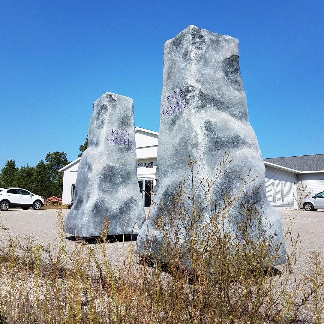 Fire Rated Foam Sculpted 8' tall Minnesota Vikings Runestone Props for Player Intros