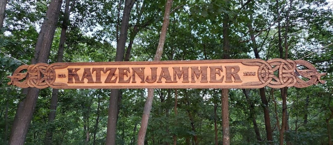 Katzenjammer Carved Wood Sign