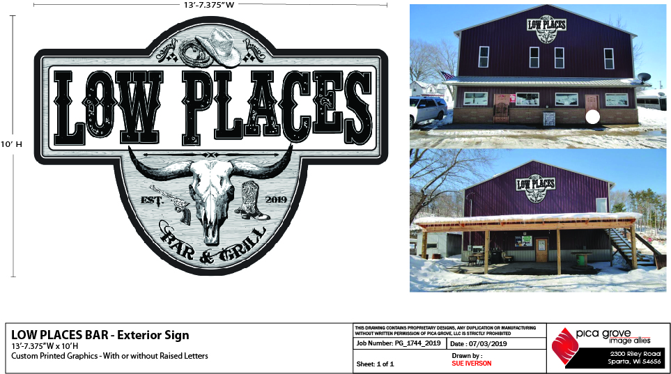 Graphic Design -Low Places Bar & Grill - Exterior Sign