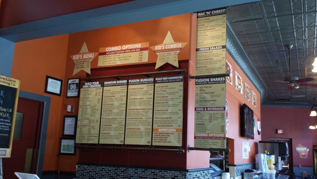 Burger Fusion Interior Decor - Magnetic Menu System