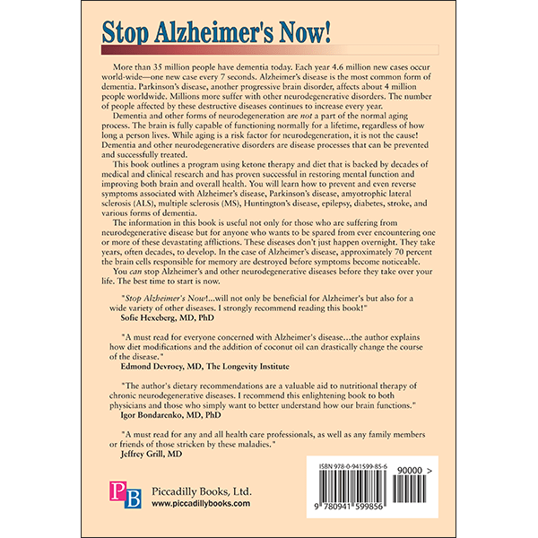 Stop Alzheimers Now Back Cover