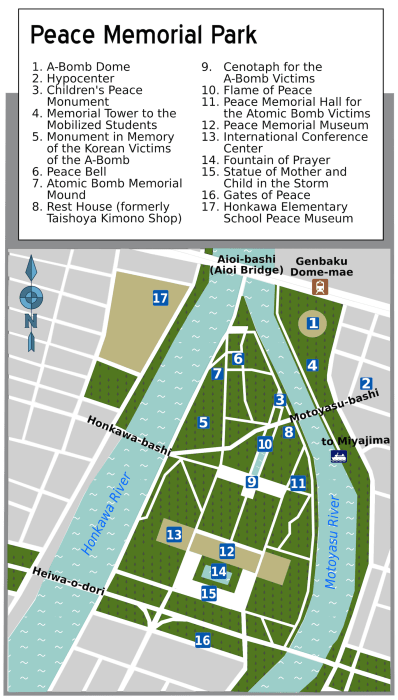 Hiroshima Peace Memorial Park Map