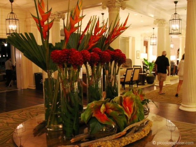 Floral arrangement in the Moana Surfrider lobby