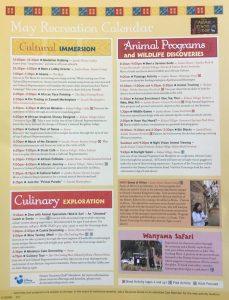 Activity Calendar - May 2017, Animal Kingdom Lodge, Orlando