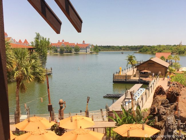 View of lake from 'Ohana Restaurant, Polynesian Village Resort, Walt Disney World