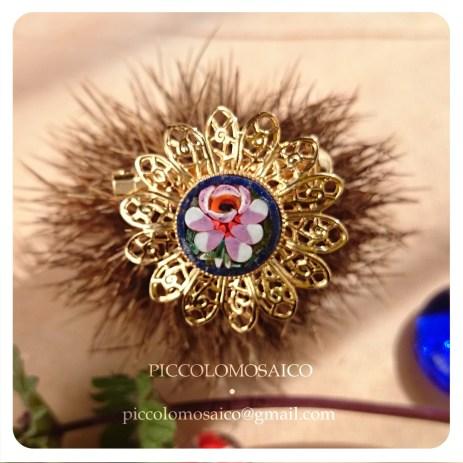 spilla micromosaico dorata fiore rosa 04