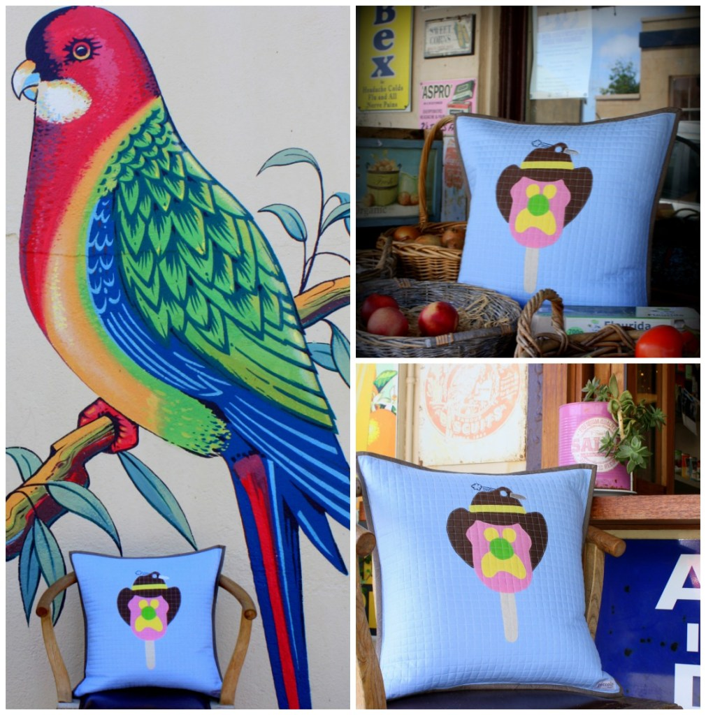 Applique cushion featuring the famous Bubble O'Bill image.