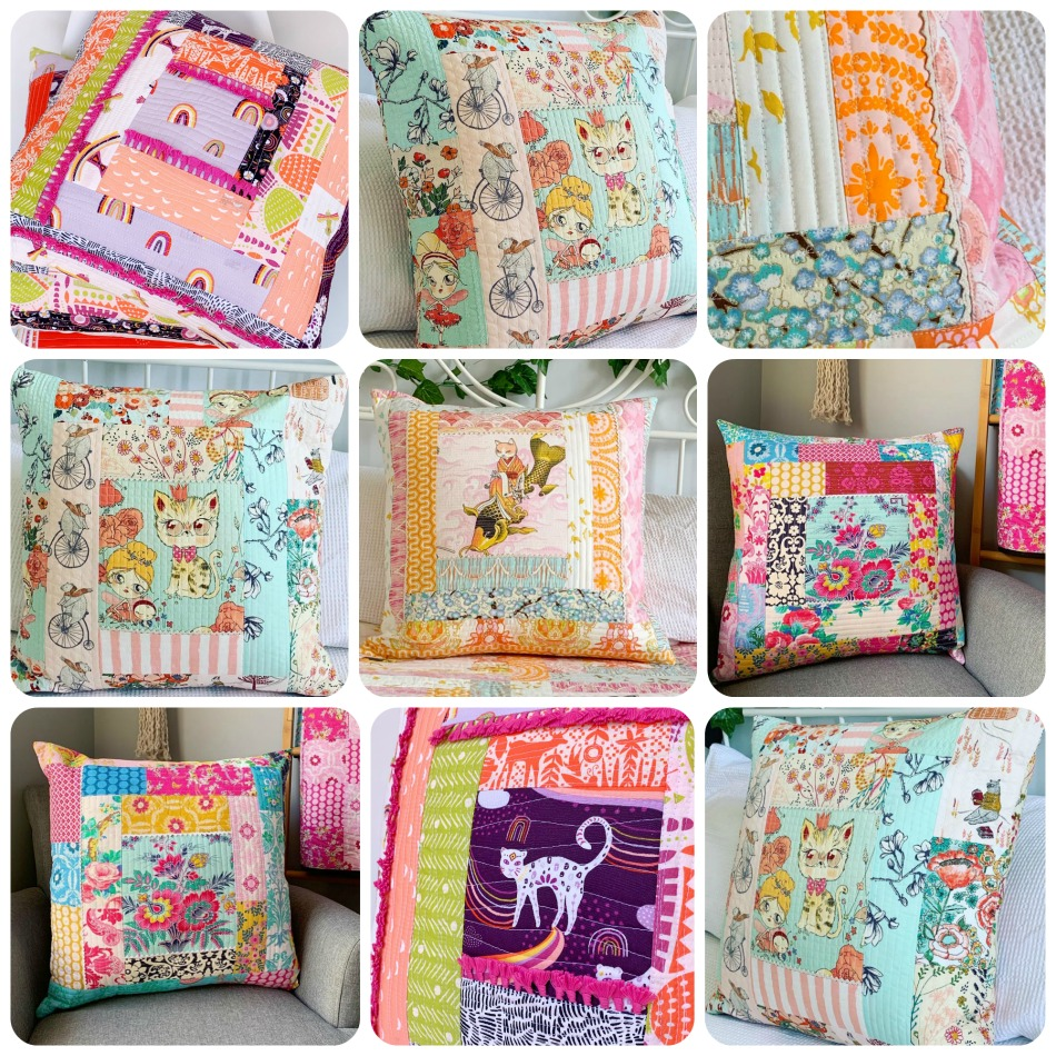 quilt as you go {QAYG} cushions by Piccolo Studio