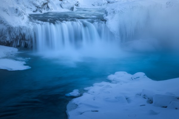 Godafoss in Iceland on a very cold day.