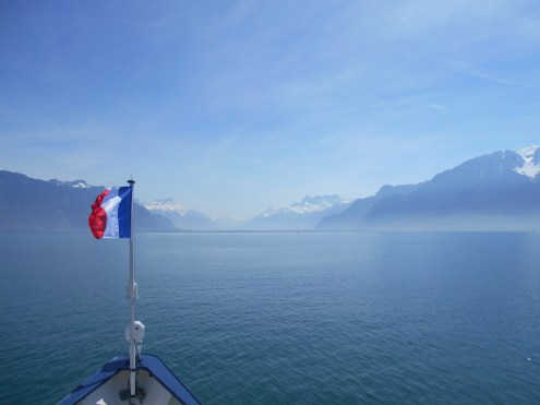 Today on the boat. The CGN boats on Lake Geneva fly a French flag on the bow and a Swiss flag on the stern as they cross the lake between France and Switzerland.