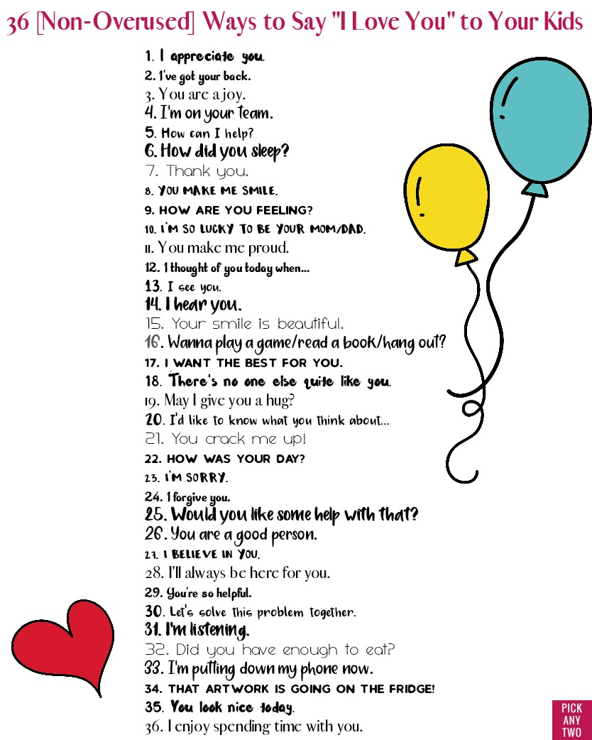 photograph regarding I Love You Because Printable referred to as 36 [Non-Overused] Strategies in direction of Say I Take pleasure in On your own in direction of Your Youngsters - Select