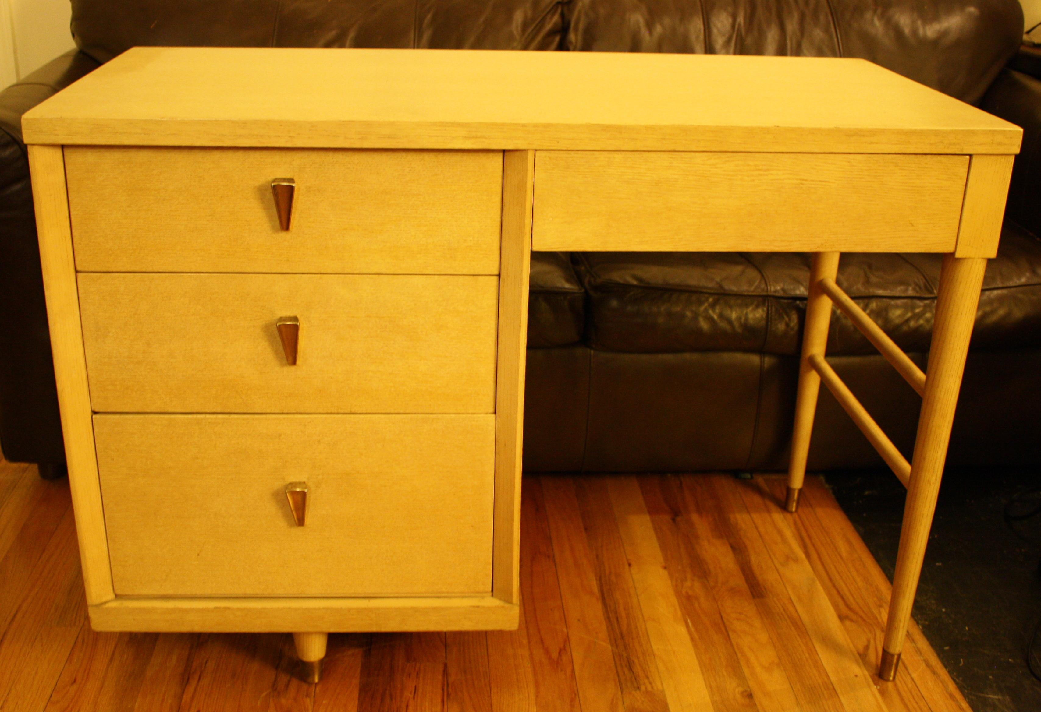 Blonde Mid Century Modern Desk With Brass Drawer Pulls