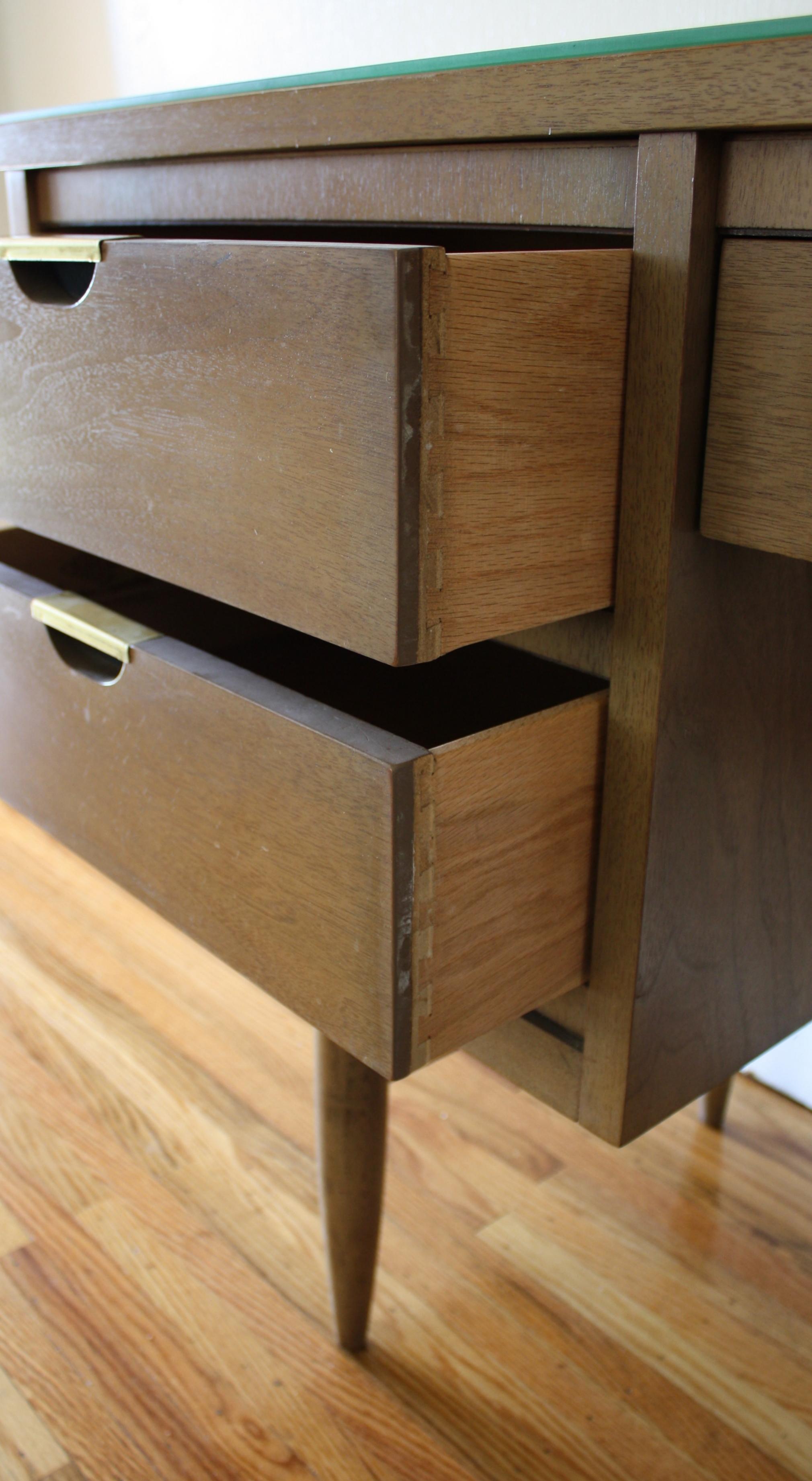 Mid Century Modern Desk With Brass Handles United