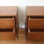 Mcm End Table Pair Circle Drawer Pulls 2 Picked Vintage
