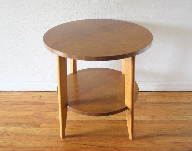 Mid Century Modern Burl Design Side End Table