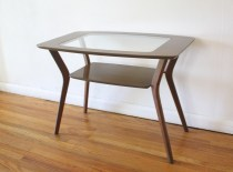 mcm glass insert side table 1