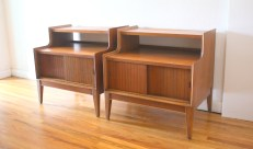 pair of 2 tiered nightstands withsliding doors 1