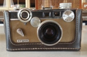 argus camera with leather