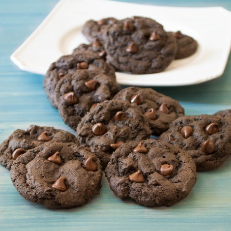 Dark Chocolate Chocolate Chip Cookies...These are full of chocolate chips, moist with soft chewy brownie-like center, and a little crisp on the outside.
