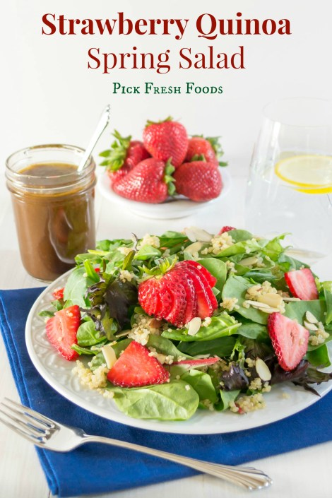 Strawberry Quinoa Salad...a nutritious combination of baby greens, quinoa, fresh sliced strawberries, sliced almonds and topped with Balsamic Vinaigrette