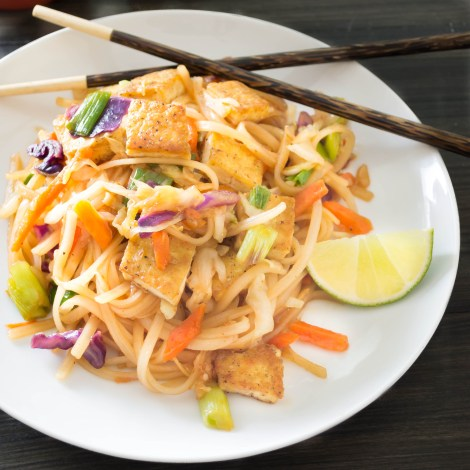 Spicy Asian Noodles...seared tofu and rice noodles coated in a delicious savory sauce  | Pick Fresh Foods
