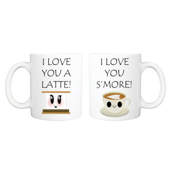 I Love You Latte I Love You Smore His and Hers Cute Couples Mug Set