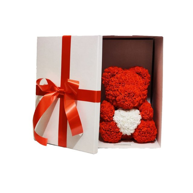 Luxury White Gift Box With Luxury Red Rose Bear