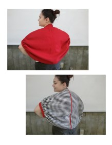 Reversible wool shrug sewn for construction techniques class.