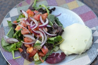 burger and salad