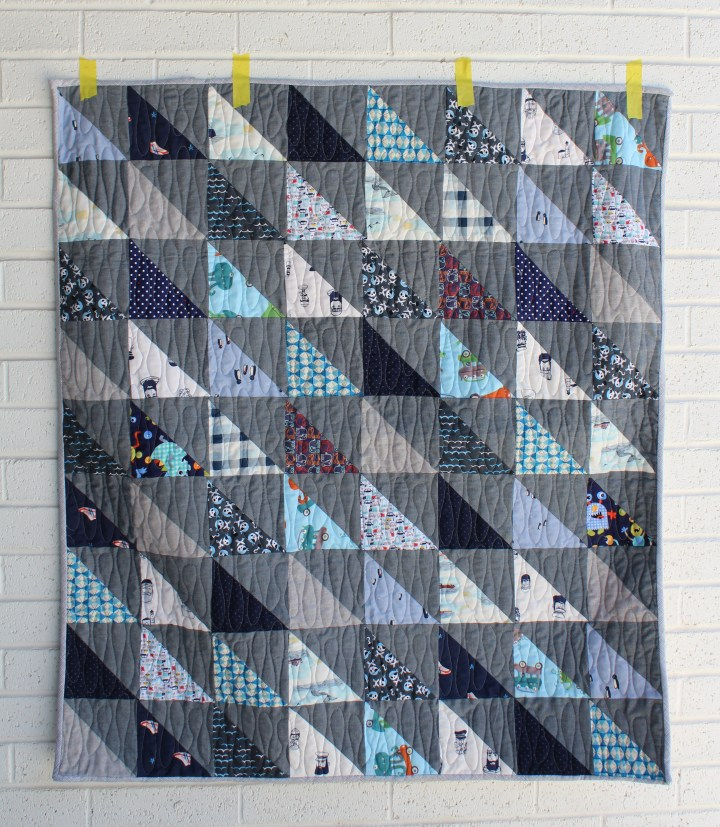 Scrappy Blue Baby Boy Quilt