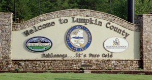 Welcome to Lumpkin County sign, as you enter lumpkin county by road or foot. Featuring the slogan 'Dahlonega...it's pure gold'