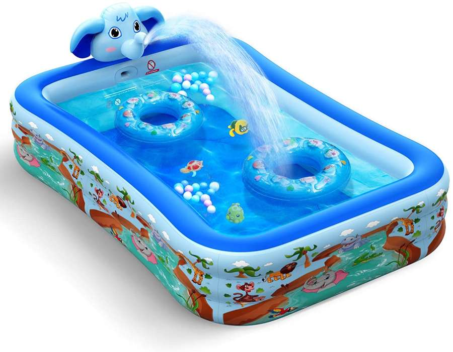Hamdol 99x72x22 Inch Kiddie Inflatable Swimming Pool with Sprinkler