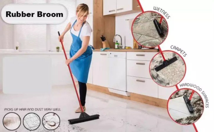 Use of rubber broom