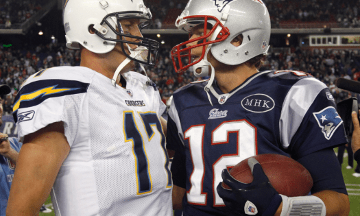 Round 2 NFL Playoff rematch! Brady has beaten Rivers 7-straight times since 2006.
