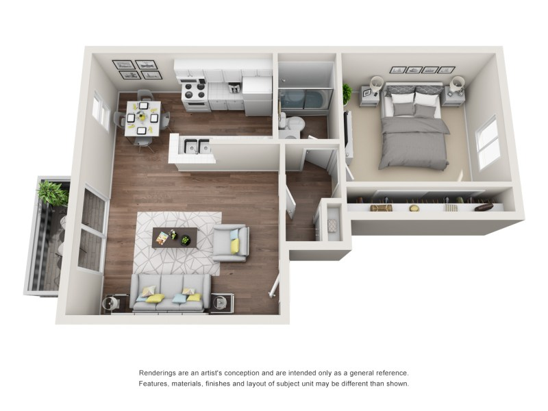 Rates   Floor Plans   Ivy Apartment Homes at Pickwick Park 1 Bedroom Plan A  Upstairs Balcony