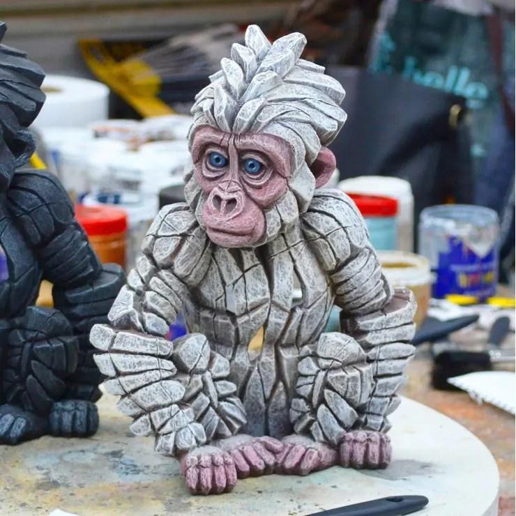 Edge Sculpture - Baby Gorilla White