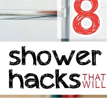 Shower hacks, shower tricks, bathroom organization, kitchen organization, popular pin, bathroom tips, cleaning hacks, bathroom cleaning hacks.