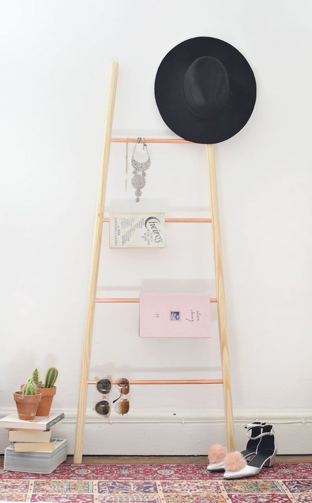 DIY-Wood-Copper-and-Wood-Ladder-Shelf