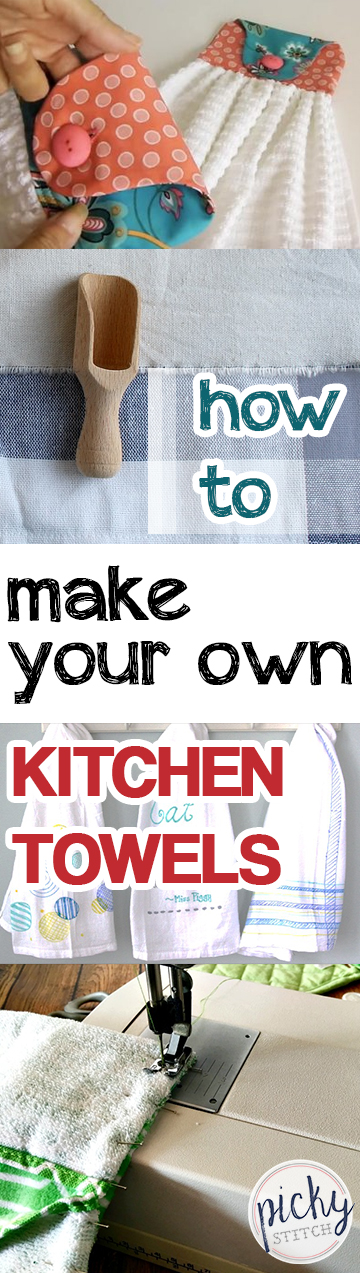 Kitchen Towels, How to Make Your Own Kitchen Towels, Easy Sewing Projects, No Sew Craft Projects, Homemade Kitchen Towels, Easy Kitchen Towels, Projects, Sewing Projects, Popular Pin