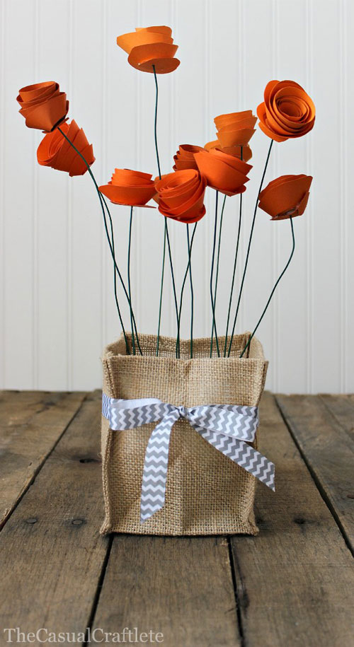 Give The Gift Of Never-Dying Flowers {12 Paper Flower Tutorials} - Paper Flower Crafts, How to Make Paper Flowers, DIY Crafts, Craft Ideas, Easy to Make Crafts, Quick Craft Projects, Fun Gift Ideas