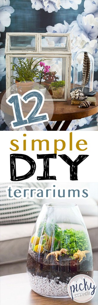 12 Simple DIY Terrariums| DIY Terrarium Projects, How to Make Your Own Terrarium, Indoor Gardening, Terrarium Designs, Unique Terrarium Designs, DIY Home, DIY Home Decor, Container Gardening, Popular Pin