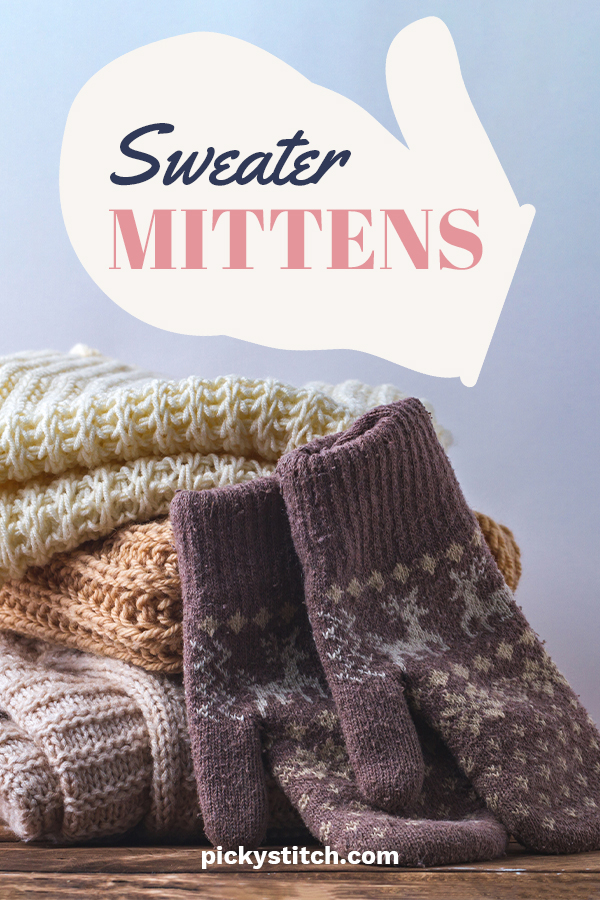 When your favorite sweater gets to the point it is time to throw it out, don't! You don't have to part with the cozy sweater completely because you can easily makes sweater mittens. Keep reading to get the free pattern to use. Remember to post pics of the before and after. Stay warm and cozy with sweater mittens. #sewingprojects #sweatermittens